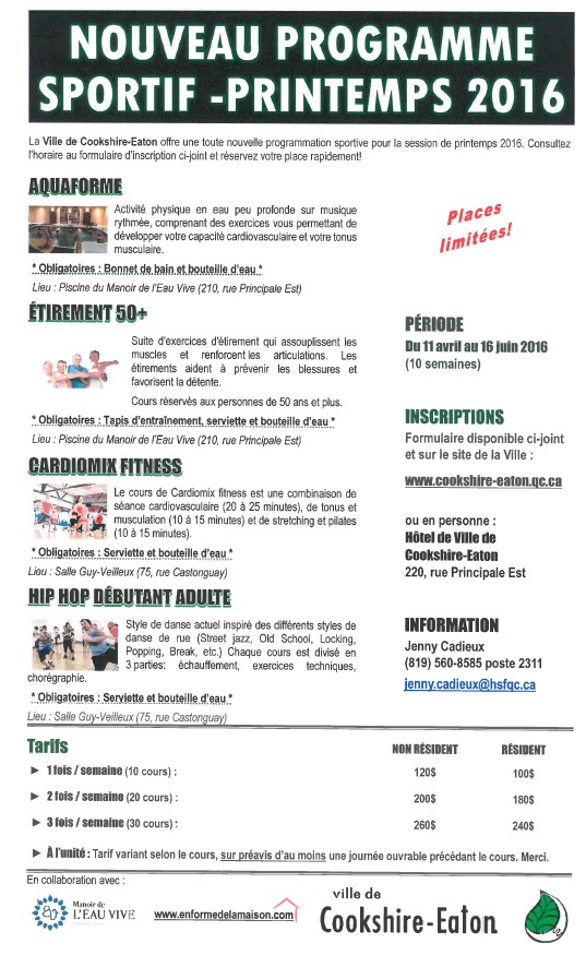 Page 1 Inscription Prog sportive Printemps 2016