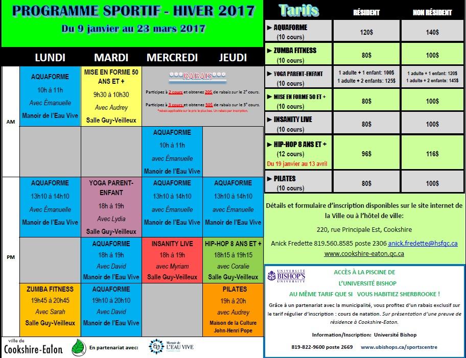 Programmation sportive - Hiver 2017