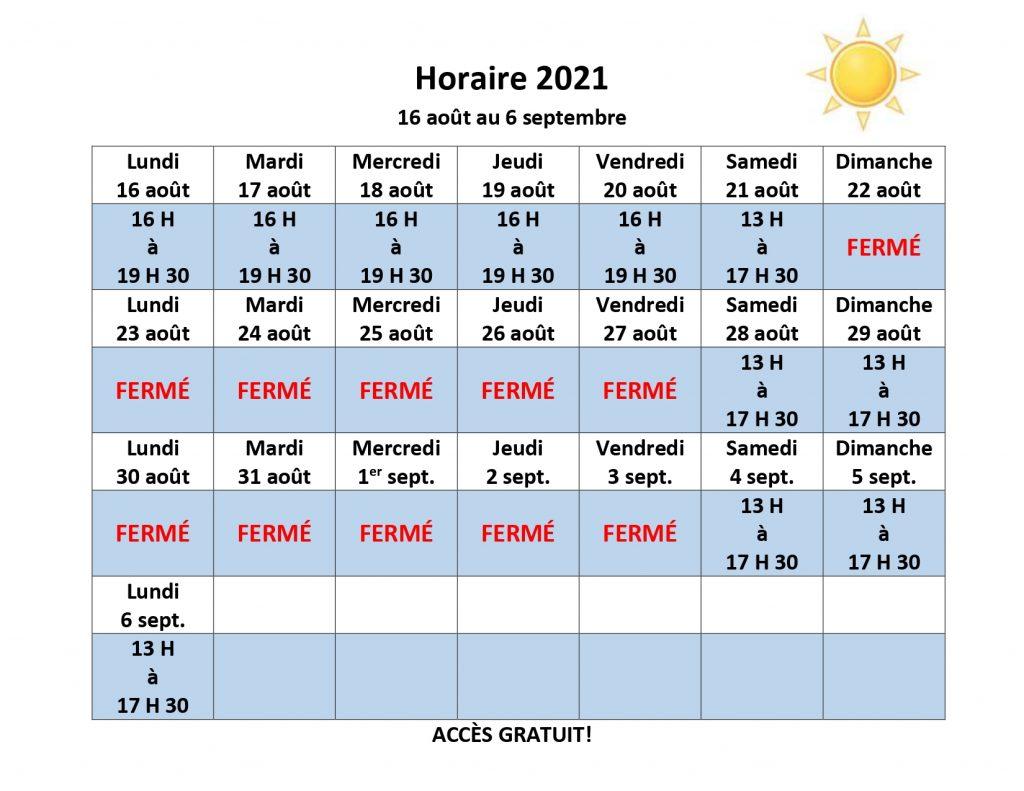Horaire de la piscine pop 2021 - Semaine du 16 août 2021