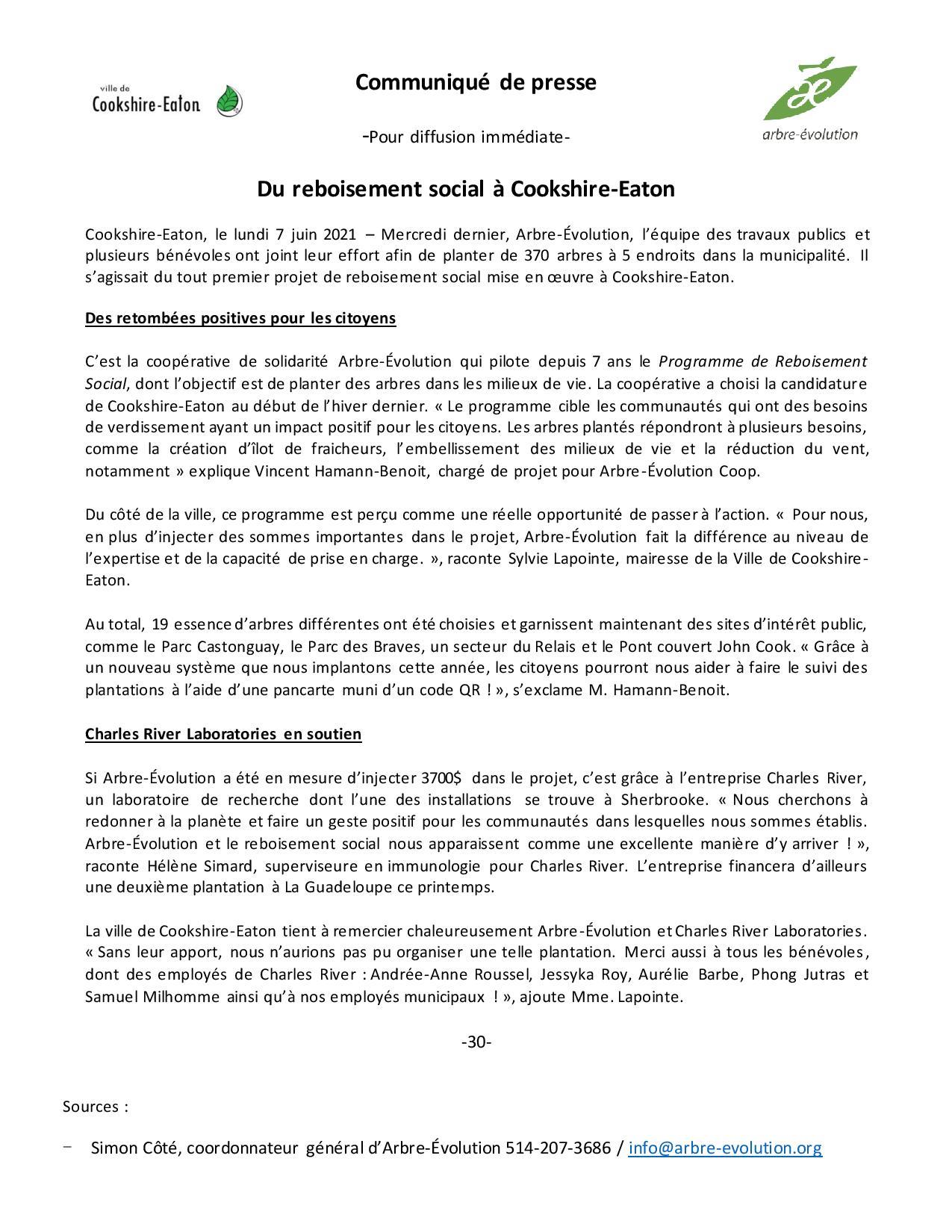 Communiqué de presse - Cookshire-Eaton VF