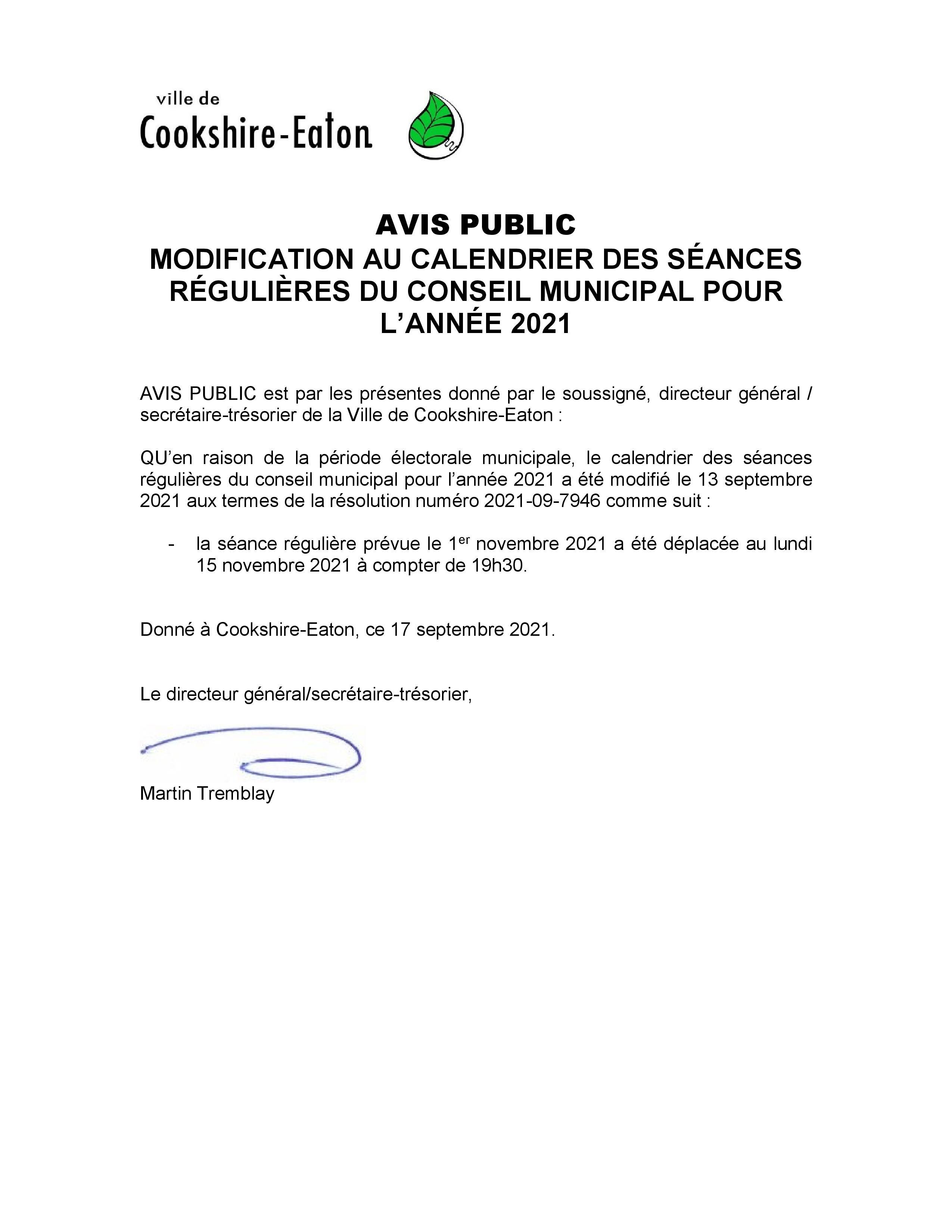 Avis public - modification Séances régulières novembre 2021